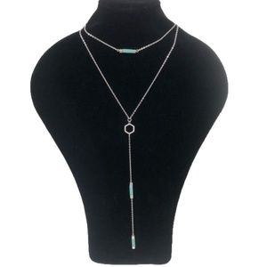 Genuine howlite brushed silver layered necklace
